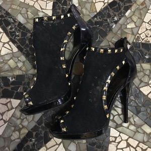 Black lace; gold studded stiletto booties